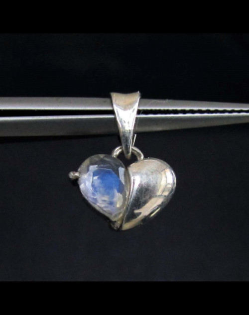 Heart shaped Sterling silver Gemstone Pendant with a natural Blue Moonstone