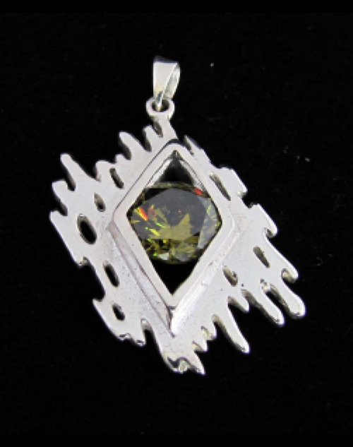 Fancy Sterling silver Pendant with a round cut Beautiful Olive Green CZ 925 silver