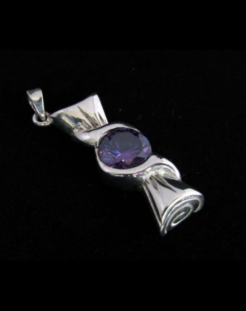 Fancy Sterling silver Pendant with a Beautiful round cut Purple CZ 925 silver