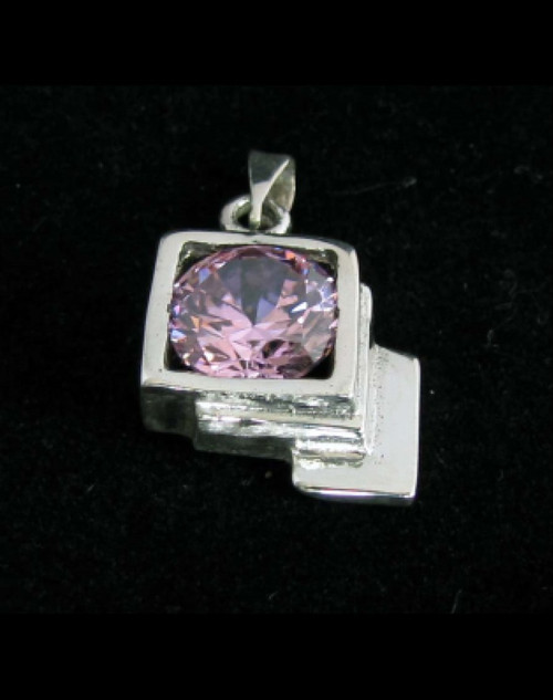 Beautiful Sterling silver women's pendant with a Sparkling Pink CZ 925 silver