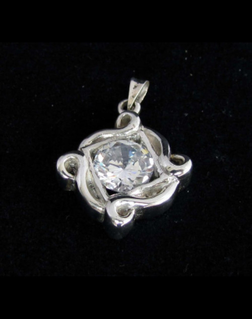 Beautiful ornate Sterling silver women's pendant with a Sparkling White CZ