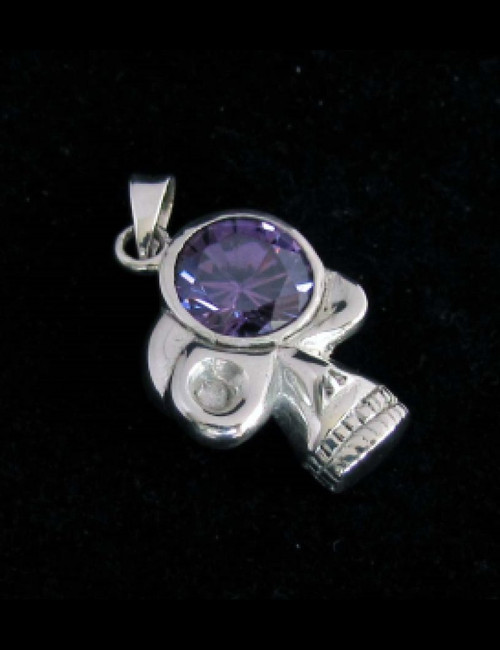 Sterling silver Skull shaped Pendant with a Big purple round cut CZ Eye 925 silver