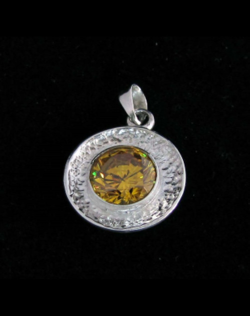 Sterling silver women/s Pendant with a round cut Shiny Yellow CZ high polished 925 silver