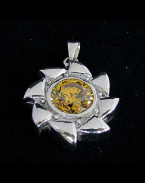 Sterling silver Spiral shaped Pendant with a Beautiful round cut Sparkling Yellow CZ high polished 925 silver