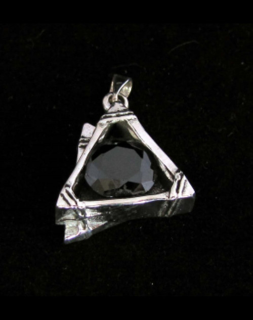 Triangle shaped sterling silver Pendant with a mysterious round cut Black CZ high polished 925 silver