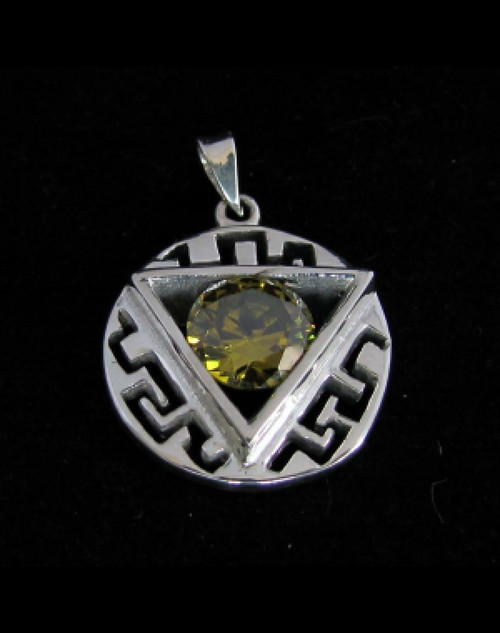 Beautiful ornate Sterling silver Pendant with a round cut Olive Green CZ high polished 925 silver