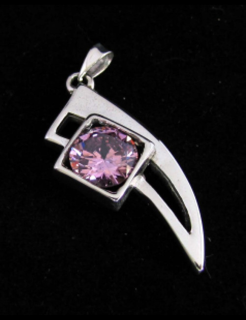 Trendy Sterling silver Pendant with a Sparkling round cut Pink CZ high polished 925 silver