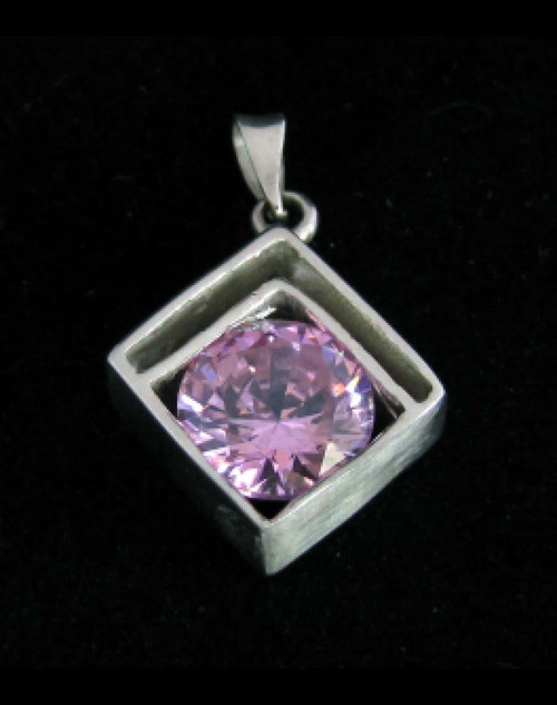Modern Sterling silver Pendant with a Sparkling round cut pink CZ high polished 925 silver