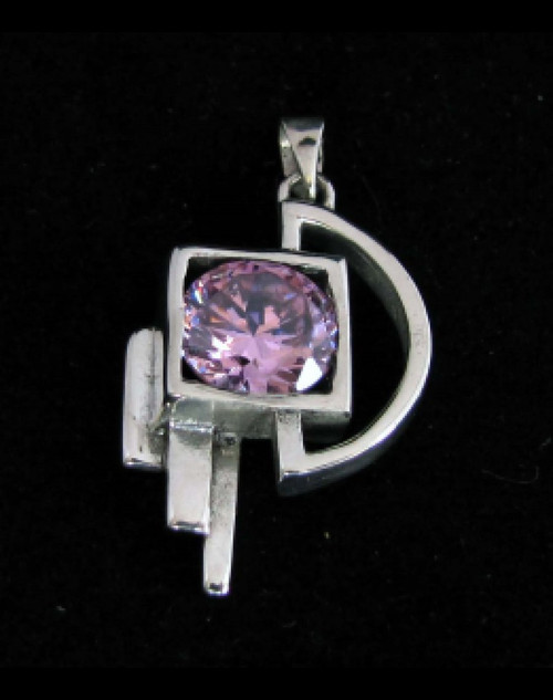 Abstract Sterling silver Pendant with a Sparkling round cut Pink CZ high polished 925 silver