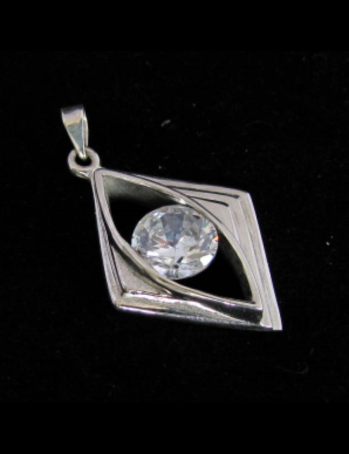 Trendy Sterling silver women's Pendant with  a Beautiful round cut Sparkling White CZ high polished 925 silver