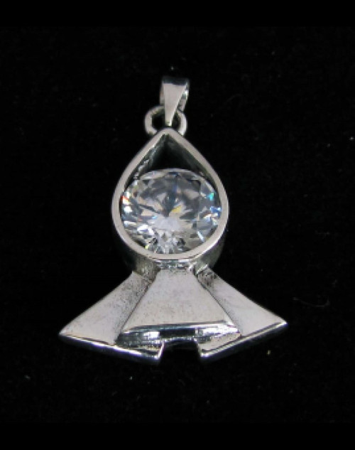 Stunning Sterling silver Pendant with a Beautiful round cut Sparkling White CZ high polished 925 silver