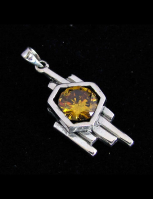 Modern Sterling silver women's Pendant with a Sparkling round cut Yellow CZ high polished 925 silver