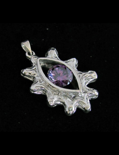 Fancy Sterling silver women's Pendant with a Beautiful round cut Purple CZ high polished 925 silver