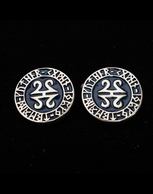 Sterling silver Cuff links Mandala with Celtic runes on Black enamel high polished 925 silver