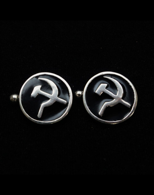 Sterling silver Cufflinks Hammer and Sickle Communist symbol with Black enamel high polished 925 silver