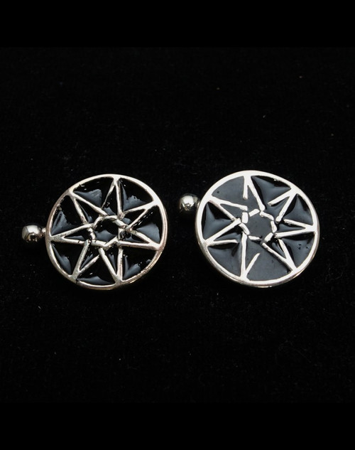 Sterling silver Cufflinks Fairy Elven Star 7 pointed Heptagram with Black enamel 925 silver