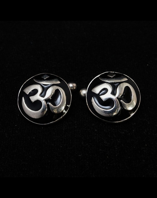 Dome shaped Sterling silver Cufflinks Ohm Buddhist symbol Buddhism with Black enamel 925 silver