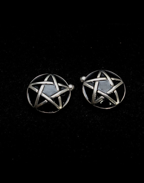 Dome shaped Sterling silver Cufflinks Celtic Pentagram 5 pointed Star with Black enamel 925 silver