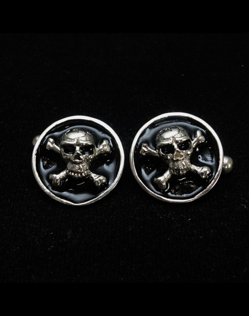 Sterling silver Cufflinks Pirate Skull on Crossed Bones Jolly Roger with Black enamel high polished 925 silver