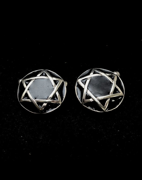 Sterling silver Hebrew symbol Cufflinks Star of David Hexagram on dome with Black enamel 925 silver