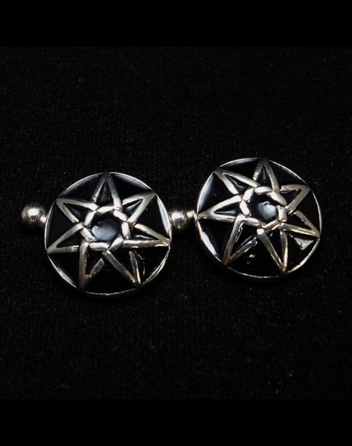 Dome shaped round Sterling silver Cufflinks Fairy Elven Star 7 pointed Heptagram symbol with Black enamel