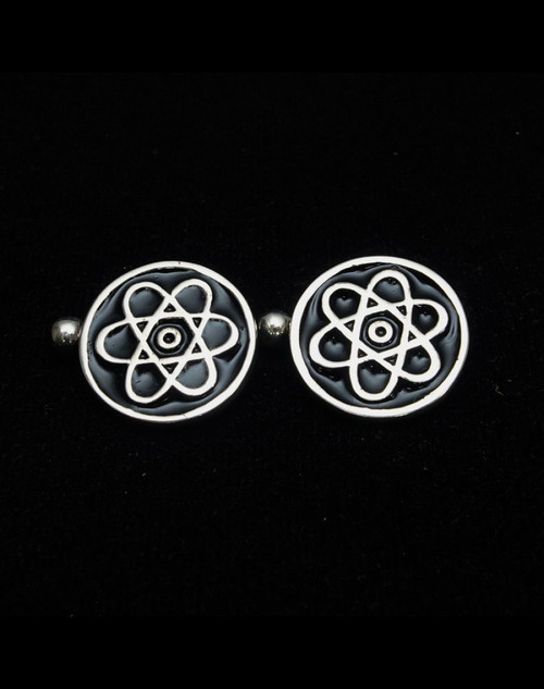 Sterling silver Cufflinks Atomic Cloud Nuclear symbol with Black enamel high polished 925 silver