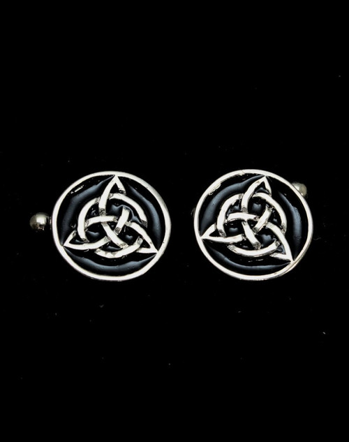 Sterling silver Cufflinks Celtic Knot symbol Triquetra with Black enamel high polished 925 silver