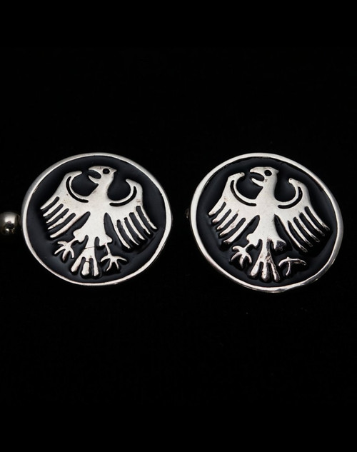 Round Sterling silver Cufflinks German Eagle Flag Germany coat of arms with Black enamel