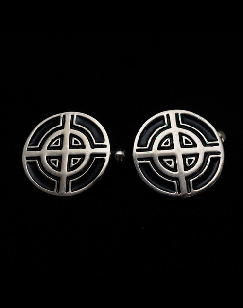 Sterling silver Cufflinks Celtic Cross ancient symbol with Black enamel high polished 925 silver