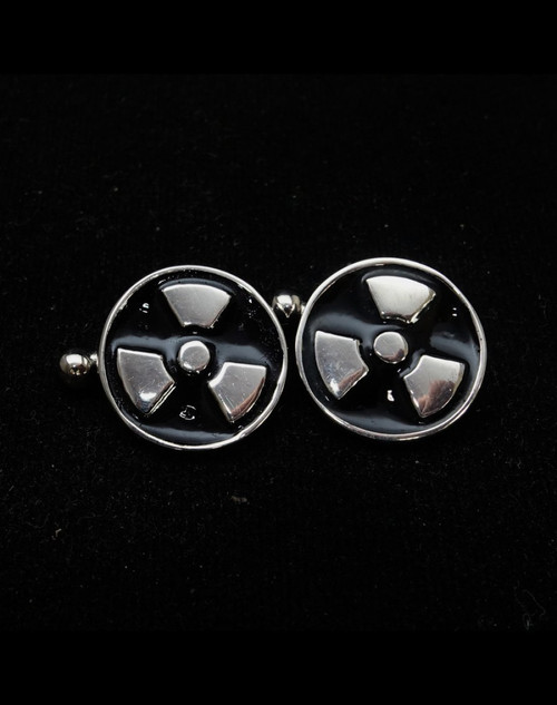 Sterling silver Cufflinks Nuclear Warning Danger symbol Trefoil with Black enamel high polished 925 silver