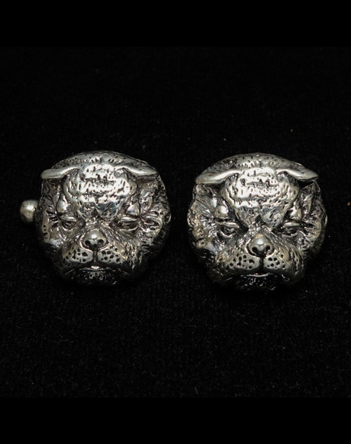 Sterling silver Animal Cufflinks English breed Bull Dog high polished and antiqued 925 silver