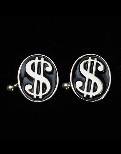 Sterling silver Cufflinks US dollar symbol Poker Player with Black enamel high polished 925 silver