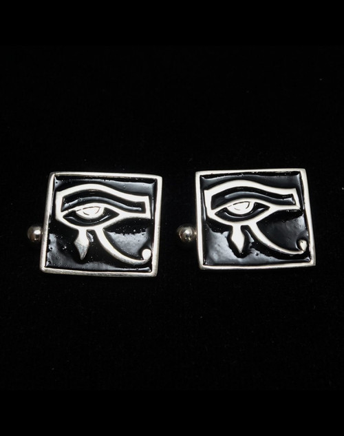 Sterling silver Cufflinks Eye of Ra ancient Egypt symbol with Black enamel high polished 925 silver