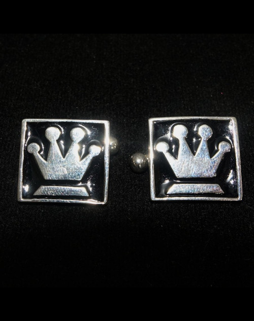 Sterling silver Cufflinks Chess piece symbol The Queen Medieval Crown with Black enamel high polished 925 silver
