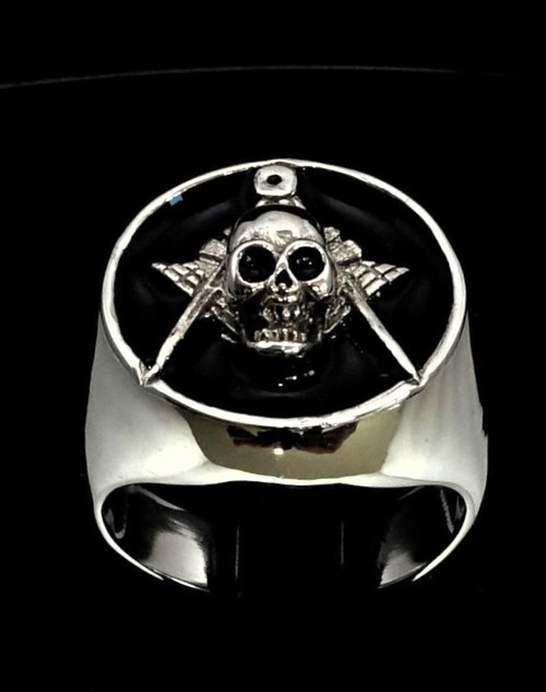 Sterling silver Masonic ring Skull on Square and Compasses with Black enamel high polished 925 silver