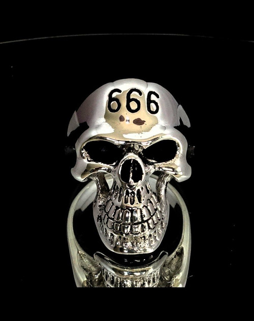 Sterling silver men's ring 666 Mark of the Devil on Grinning Skull 925 silver