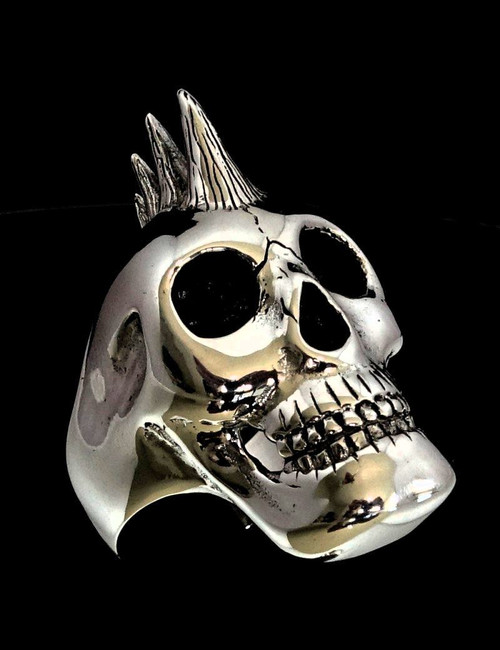 Sterling silver men's ring Punk Skull with Mohawk anarchy high polished and antiqued 925 silver