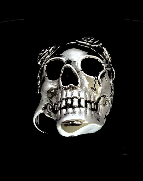 Sterling silver men's Skull ring Granny with Rose Flowers high polished and antiqued 925 silver