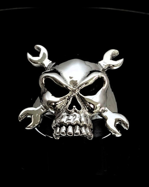 Sterling silver Skull ring Big Bike Mechanic on Crossed Wrenches high polished and antiqued 925 silver