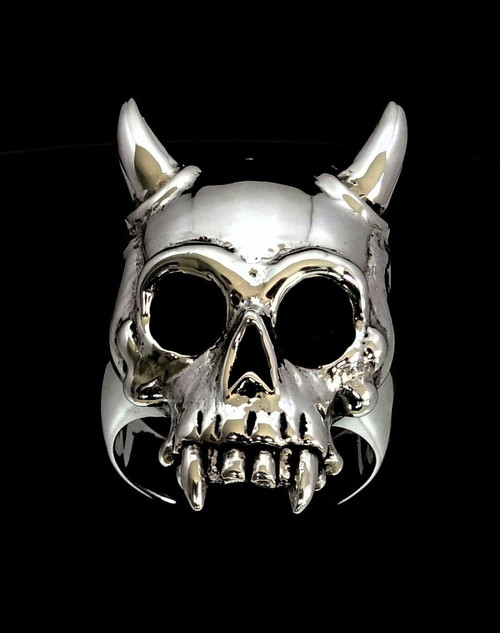 Sterling silver men's ring Horned Vampire Skull Dracula high polished and antiqued 925 silver