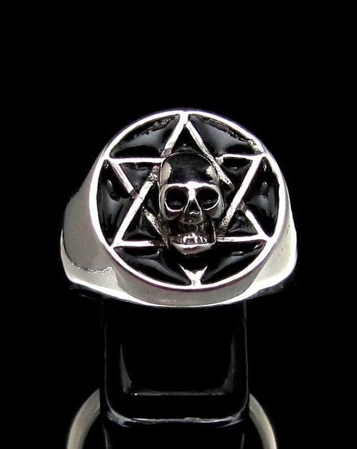 Sterling silver ring Skull on Hexagram Occult Star symbol with Black enamel high polished 925 silver