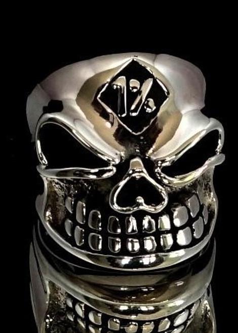 Sterling silver men's Biker ring One Percent symbol on Winking Bully Skull antiqued 925 silver