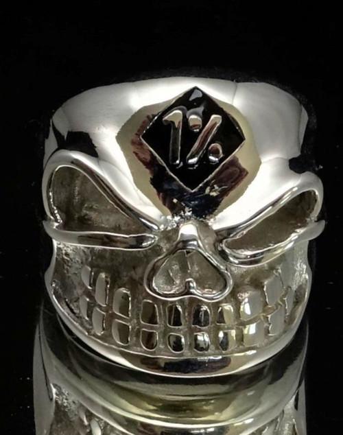 Sterling silver men's Biker ring One Percent symbol 1 % Black enamel on Winking Bully Skull high polished 925 silver