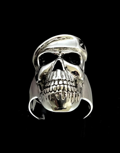Sterling silver men's Army ring Officer Skull with Beret Special Forces high polished 925 silver
