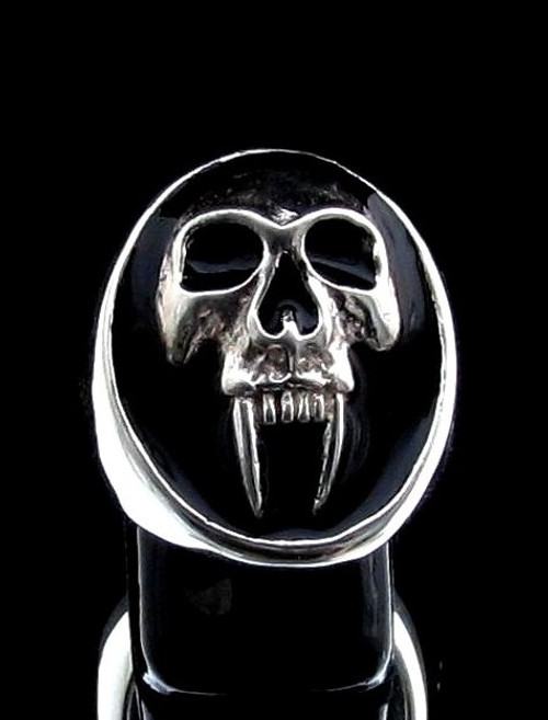 Oval Sterling silver men's ring Big Fang Vampire Skull with Black enamel high polished 925 silver