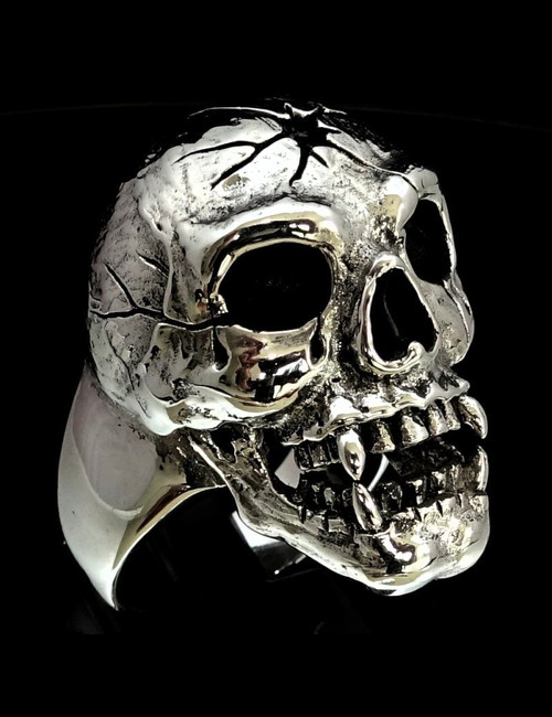 Sterling silver Skull ring Head Shot Zombie high polished and antiqued 925 silver men's ring