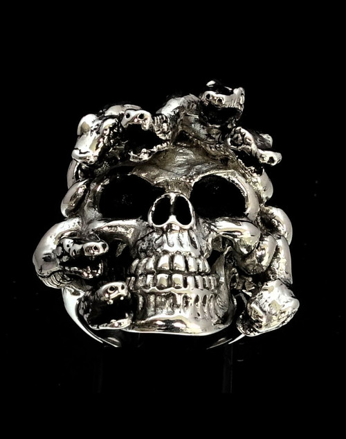 Sterling silver ring Medusa Skull with Snake Hair ancient Greek antiqued 925 silver