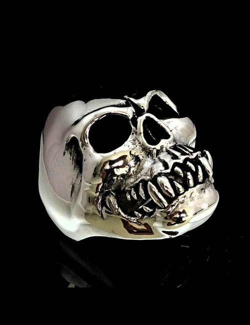 Big Sterling silver men's ring Terrifying Horror Zombie Skull high polished and antiqued 925 silver