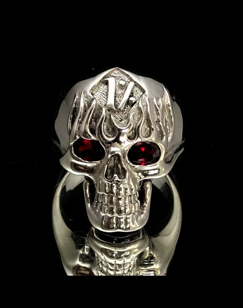 Sterling silver Biker ring One Percent on Flaming Skull with 2 Red CZ Eyes high polished  925 silver