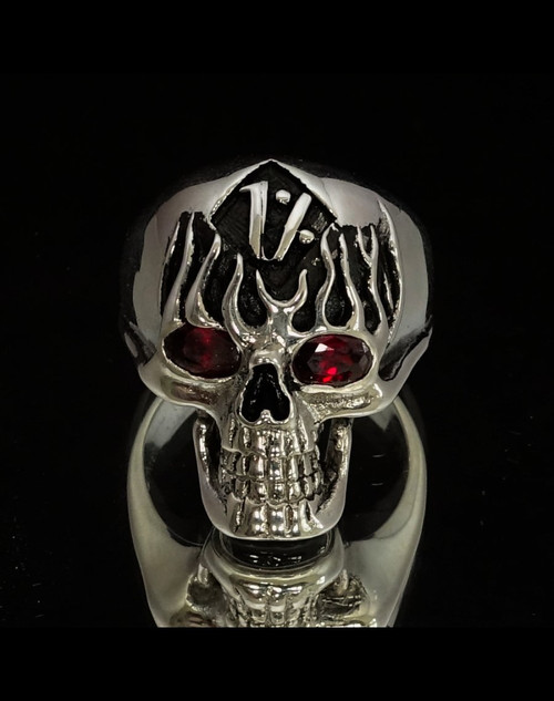 Sterling silver Biker ring 1 Percent symbol on Flaming Skull with 2 Fiery Red CZ Eyes antiqued 925 silver